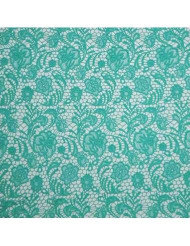 """Aqua Green ~ rose allure ~ 6.5/""""*1Y élastique Stretch Floral Dentelle ~ à Volants ~ ivoire"""