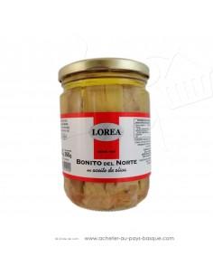 Bonite thon blanc Lorea  huile olive bocal 400gr - epicerie espagnole - cuisine conserve - spécialité basque