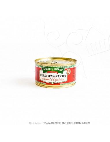 Rillettes de canard au piment d'Espelette 130g - conserves Bixente Ibarra - épicerie du pays basque