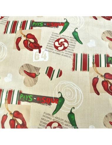 Nappes en Toile cirée rayures piments 64 croix Basques zoom - vente en ligne sur mesure  acheter nappe basque