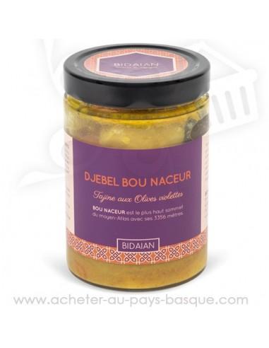 Tajine de légumes aux olives violettes en conserve - plat cuisiné oriental - produits marocain