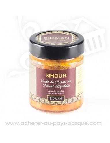 Conserve confit de raisins au piment d'Espelette Simoun  bidaian plat cuisiné oriental - épicerie saveurs du monde