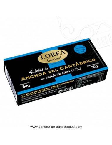 filets d'anchois de Cantabrique pauvre en sel Lorea à l'huile d'olive extra - conserve - espagnoles - spécialités basques