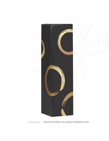 Coffret carton vide 1 bouteille noir et doré - vente en ligne boite packaging - idée cadeau - noel anniversaire fêtes