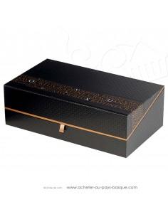 """Coffret vide carton rectangle noir et cuivre """"Savoureux"""" - vente en ligne boite packaging - idée cadeau - noel anniversaire"""