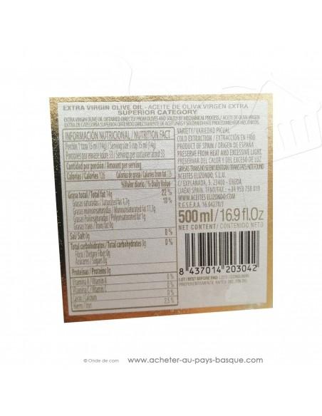 Huile d'olive picual espagnole extra vierge Elizondo N3 premium - 500ml - conserve basque cuisine - epicerie fine