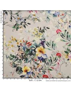 Satin gris fleuri Touché soie - Tissus Habillement - Tissus des Docks de la Negresse - Biarritz