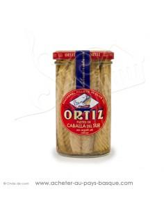 Filets de maquereau à l'huile d'olive vierge extra conserve de la mer Ortiz bocal 250g - espagnole cuisine conserve basque