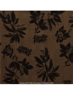 Prince de Galles marron noir imprimé fleur feuillage -Tissu habillement vente en ligne - Docks Biarritz