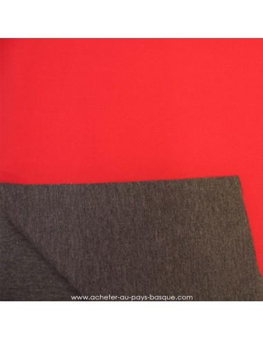 tissu néoprène crêpe réversible rouge framboise et gris anthracite - tissu habillement - Docks Negresse Biarritz