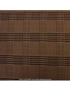 jersey de polyester Prince de Galles marron crême noir  -Tissu habillement vente en ligne - vetement couturiere