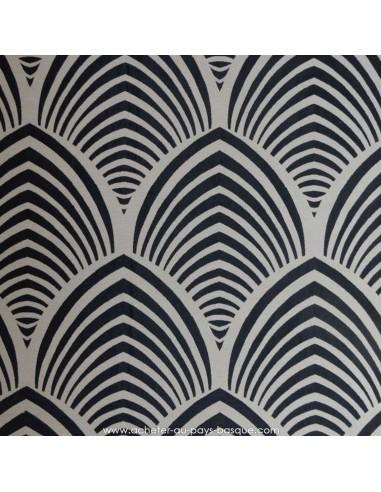 Tissu jacquard d'ameublement EDO Thévenon Noir fond ficelle Réversible Tissus des Docks de la Negresse - Biarritz