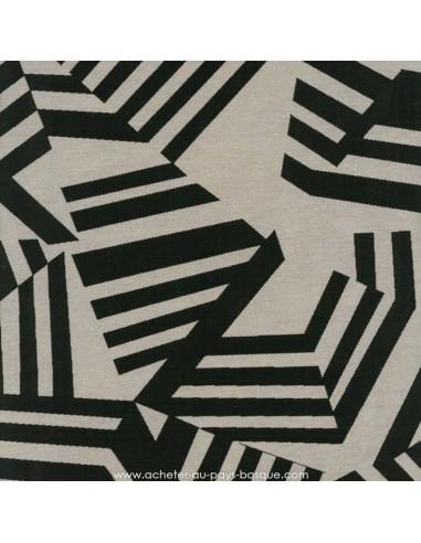 Tissu jacquard d'ameublement Collection ARKANE Thévenon Noir fond ficelle Réversible Tissus des Docks de la Negresse - Biarritz
