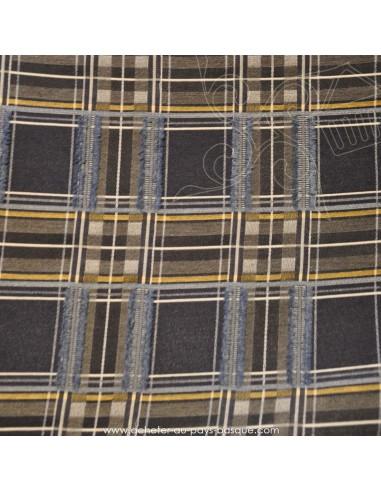 polyester écossais fantaisie rebrodé de fil bleu gris jaune - tissu habillement - vetement couturiere - Dock Biarritz