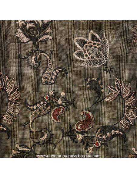 Prince de Galles rebrodé motif floral viscose polyester- tissu habillement - vetement couturiere - Dock Biarritz
