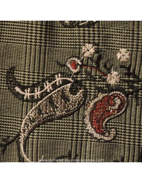 Prince de Galles rebrodé fleur japonaise viscose polyester- tissu habillement - vetement couturiere - Dock Biarritz