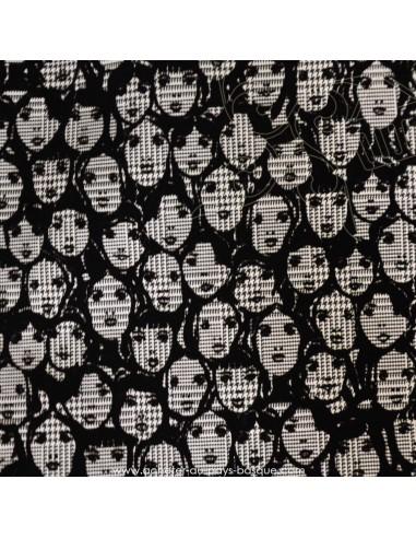 Prince de Galles noir et blanc cloqué visages velours noir viscose polyester- tissu habillement - Dock Biarritz
