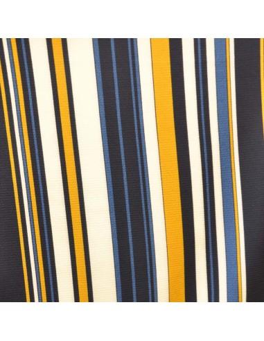 Polyester Crêpe à rayures bleues jaunes blanches - tissu habillement - vetement couturiere - Dock Biarritz