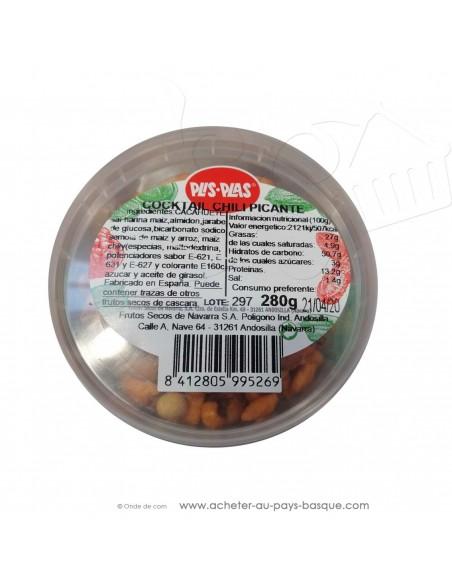 Mélange fruits secs piquant Plis Plas 280g - produits espagnols conserve epicerie - cacahuètes maïs amandes apéritif basque