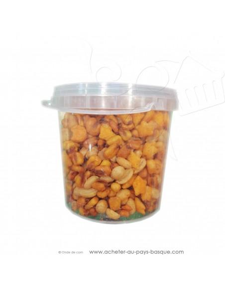 Mélange 280g fruits secs piquant Plis Plas - produits espagnols conserve epicerie - cacahuètes maïs amandes apéritif basque