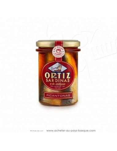 Bocal de Sardines Ortiz huile d'olive piquante - conserve espagnole cuisine- spécialité basque - livraison course à domicile