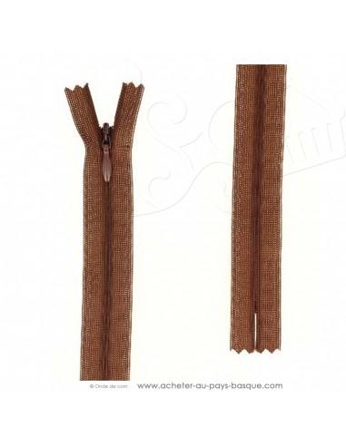 Fermeture éclair zip invisible marron 22 cm - confection vêtements - création habillement - Haut de gamme - mercerie biarritz