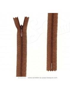 Fermeture éclair zip invisible marron 60 cm - confection vêtements - création habillement - Haut de gamme - mercerie biarritz