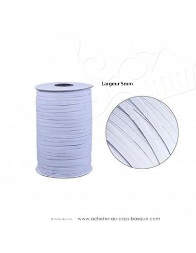 élatique blanc plat  5mm - création couture tissus au mètre - Haut de gamme - mercerie docks biarritz