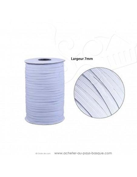 élatique blanc plat 7mm - création couture tissus au mètre - Haut de gamme - mercerie docks biarritz