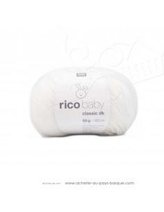 Pelote laine à tricoter RICO BABY CLASSIC DK blanc 001- Rico Design - laine layette bébé - création textile - laine biarritz