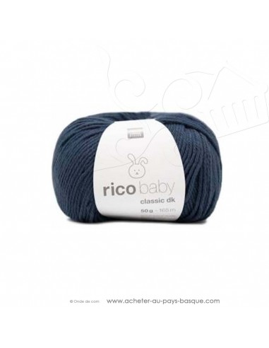Pelote laine à tricoter RICO BABY CLASSIC DK bleu acier 060 - Rico Design - fil layette bébé - laine biarritz