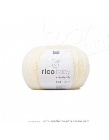 Pelote laine à tricoter RICO BABY CLASSIC DK crème 002 - Rico Design - fil layette bébé - laine biarritz