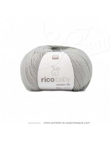 Pelote laine à tricoter RICO BABY CLASSIC DK gris clair 031- Rico Design - fil layette bébé - laine biarritz