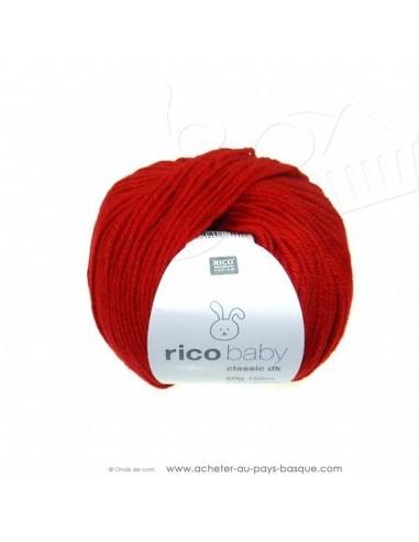 Pelote laine à tricoter RICO BABY CLASSIC DK rouge 009 - Rico Design - fil layette bébé - laine biarritz