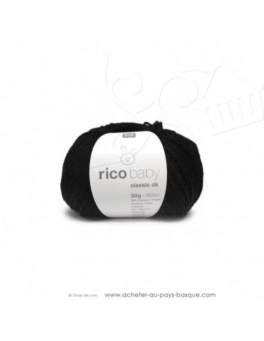 Pelote laine à tricoter RICO BABY CLASSIC DK noir 099- Rico Design - fil layette bébé - laine biarritz
