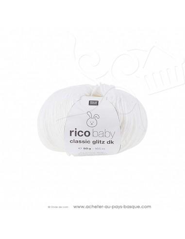 Pelote laine à tricoter RICO BABY CLASSIC Glitz DK 001 blanc - Rico Design - fil layette bébé - laine Biarritz