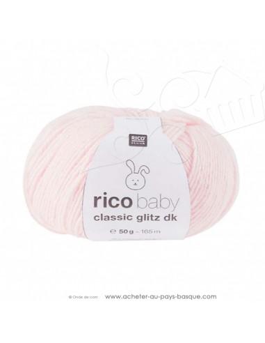 Pelote laine à tricoter RICO BABY CLASSIC Glitz DK 002 rose - Rico Design - fil layette bébé - laine Biarritz