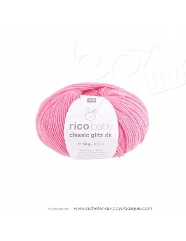 Pelote laine à tricoter RICO BABY CLASSIC Glitz DK 003 fushia - Rico Design - fil layette bébé - laine Biarritz