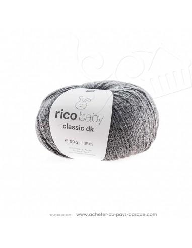 Pelote de laine à tricoter RICO BABY CLASSIC DK gris mélangé 067 - Rico Design - fil tricot layette bébé -  laine Biarritz