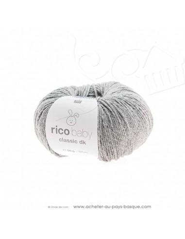 Pelote de laine à tricoter RICO BABY CLASSIC DK argent mélangé 066 - Rico Design - fil tricot layette bébé -  laine Biarritz