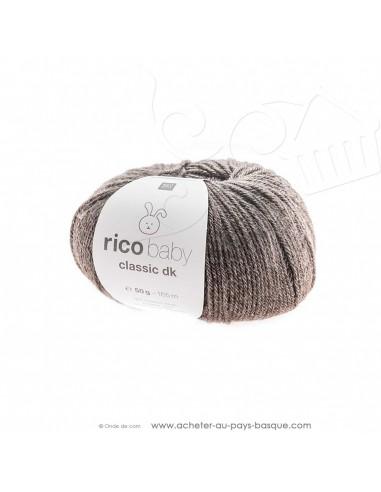 Pelote de laine à tricoter RICO BABY CLASSIC DK brun mélangé 065 - Rico Design - fil tricot layette bébé -  laine Biarritz