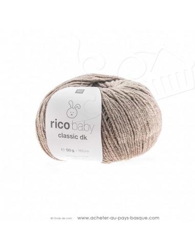 Pelote de laine à tricoter RICO BABY CLASSIC DK brun clair mélangé 64 - Rico Design - fil tricot layette bébé -  laine Biarritz