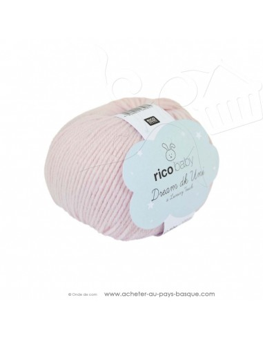 Pelote laine à tricoter RICO BABY DREAM DK uni 002 poudre - Rico Design - fil layette bébé - laine Biarritz