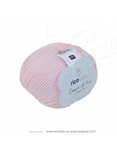 Pelote laine à tricoter RICO BABY DREAM DK uni 003 rose - Rico Design - fil layette bébé - laine Biarritz