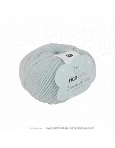 Pelote laine à tricoter RICO BABY DREAM DK uni 004 bleu clair - Rico Design - fil layette bébé - laine Biarritz