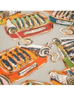 collection Patrick Plattier :  Les Sardines en boite - Tissus Ameublement - Tissus des Docks de la Negresse - Biarritz