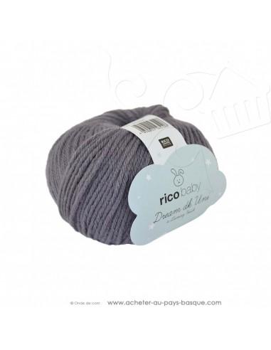 Pelote laine à tricoter RICO BABY DREAM DK uni 006 anthracite - Rico Design - fil layette bébé - laine Biarritz