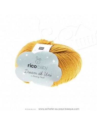 Pelote laine à tricoter RICO BABY DREAM DK uni 009 moutarde - Rico Design - fil layette bébé - laine Biarritz