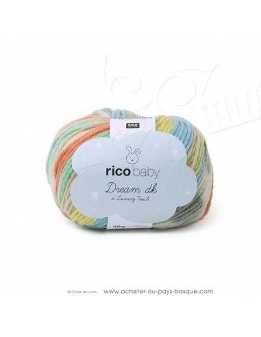 Pelote laine à tricoter RICO BABY DREAM DK multicolore 004 - Rico Design - fil layette bébé - docks Biarritz
