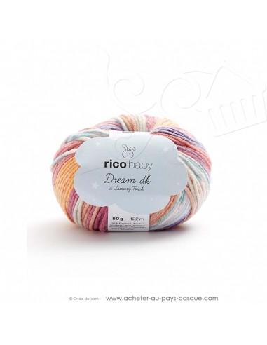 Pelote laine à tricoter RICO BABY DREAM DK multicolore 008 - Rico Design - fil layette bébé - docks Biarritz